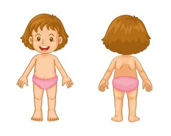 Illustration of toddler front and back