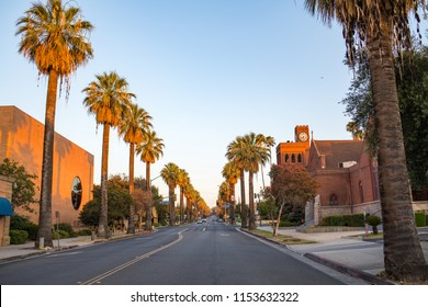 Redlands, CA: August 4, 2018:  Downtown Redlands on a sunny day.  Redlands is a city in San Bernardino County.