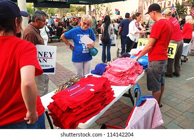 REDLANDS, CA - SEPTEMBER 28: Republican Party supporters at a Romney/Ryan Rally September 28, 2012 in Redlands, CA. This rally was to mobilize volunteers for the upcoming Presidential election.