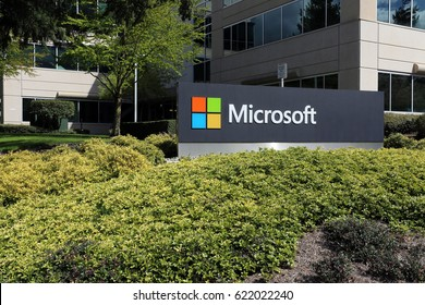 REDMOND, WA - APRIL 15: The Microsoft headquarters campus in Redmond in Redmond, Washington on April 15, 2017. Microsoft is one of the world's largest software, hardware and video gaming companies.
