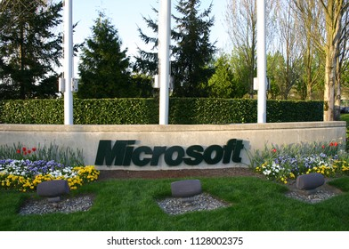Redmond, WA - April 5 2006: The sign of Microsoft at the entrance of Microsoft campus.