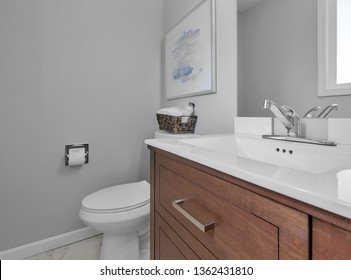 Redmond, WA / USA - April 1, 2019: Luxury bathroom interior