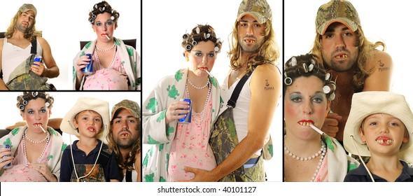 Redneck Hillbilly family portrait collage