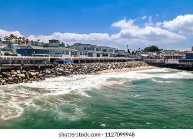 The Redondo Beach boardwalk in Southern California is lined with restaurants, housing and a nice beach.