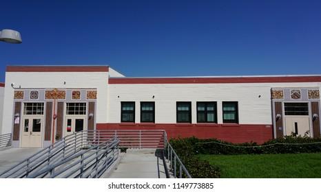 Redondo Beach, California USA - August 3, 2018: Redondo Union High School Manual Arts building, built by the WPA in 1939, example of depression era PWA Moderne public, architecture.
