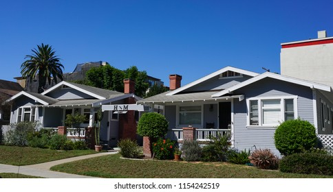 Redondo Beach, California USA - August 8, 2018: Bungalow court built 1923 in  Craftsman style, a classic form of Los Angeles architecture, on South Broadway