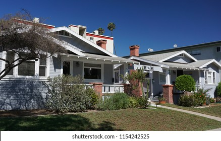 Redondo Beach, California USA - August 8, 2018: An example of classic Los Angeles area bungalow court architecture in Craftsman style from 1923 on South Broadway