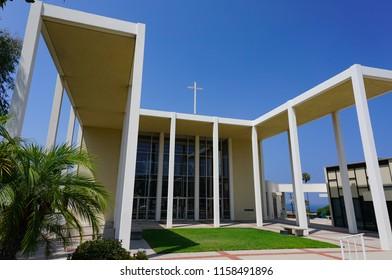 Redondo Beach, California USA - August 17, 2018: Modernist portico highlights the entrance of the Riviera United Methodist Church, a Richard Neutra design from 1958.