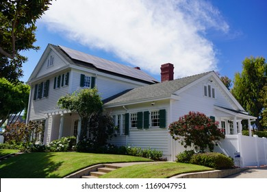 Redondo Beach, California USA -August 29, 2018: The Sweetser House, Colonial Revival architecture from 1921, showing the east side and rear of the well preserved historic landmark