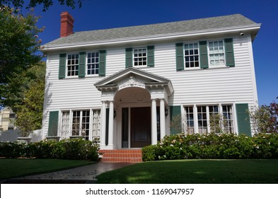 Redondo Beach, California USA -August 29, 2018: The historic Sweetser House, Colonial Revival style architecture built in 1921, on the National Register of Historic Places