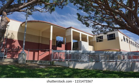 Redondo Beach, California USA - August1, 2018: Redondo Union High School building from 1952, part of a large education complex designed in midcentury international architecture style