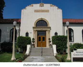 Redondo Beach, California USA - July 11, 2018: Front entrance, steps and doorway of the restored 1930 public library building, now a community center for the Los Angeles community