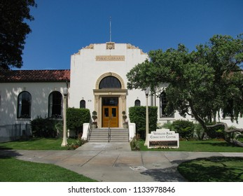 Redondo Beach, California USA - July 11, 2018: Historic 1930 public library building in Veterans Park in the Los Angeles suburb near the Pacific Ocean and pier