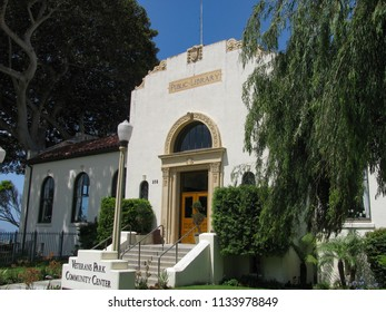 Redondo Beach, California USA - July 11, 2018: View of the front of the 1930 historic public library, now a community center of the Los Angeles suburb