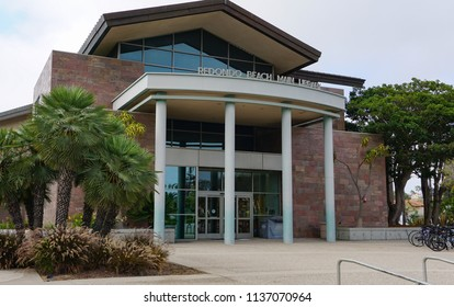 Redondo Beach, California USA - July 16, 2018: Redondo Beach Public Library main building entrance in the Civic Center on Pacific Coast Highway in the Los Angeles suburban city
