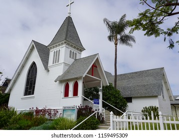 Redondo Beach, California USA -July 16, 2018: Christ Episcopal Church building, built 1893 and the oldest church building in the city