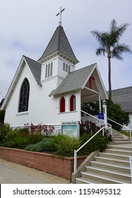 Redondo Beach, California USA -July 16, 2018: Christ Episcopal Church building, built 1893, one of the city's oldest buildings and the oldest standing church.