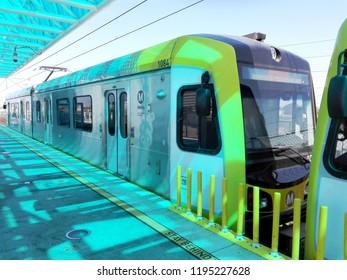REDONDO BEACH, Los Angeles, California - September 13, 2018: Redondo Beach Metro Rail Green Line Station