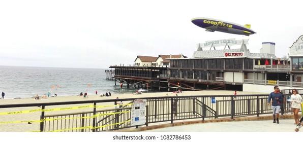 REDONDO BEACH, Los Angeles County, California - May 3, 2018: Goodyear Blimp on Redondo Beach Pier