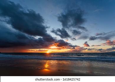 Redondo Beach sunset in November after a rain storm