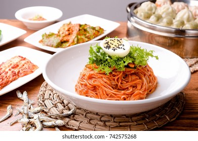 redpepper paste sauce with noodle on the table