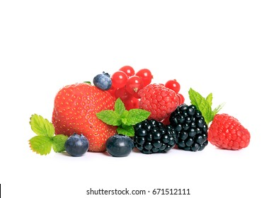 Reds fruits isolated on white background
