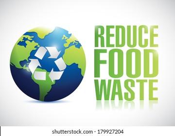 reduce food waste sign illustration design over a white background