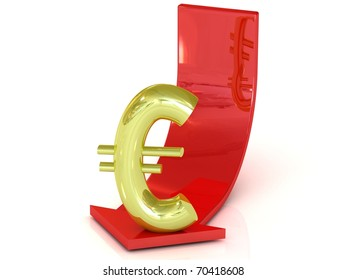 Reducing euro, white background