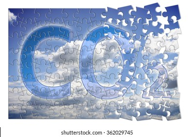Reduction of CO2 presence in the atmosphere - puzzle concept image