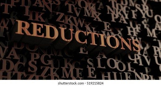 Reductions - Wooden 3D rendered letters/message.  Can be used for an online banner ad or a print postcard.
