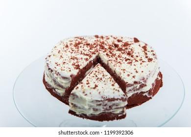 Redvelvet cake on a cakeholder