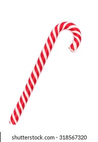 Red-white candy cane isolated on white with shadow