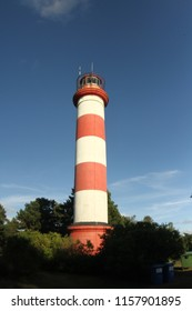 Red-white lighthouse on the Curonian Spit in Nida