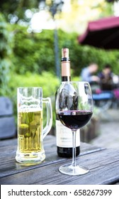 redwine bottle, glas and beer