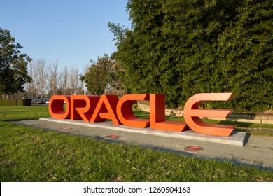 Redwood City, California - Dec 10, 2018: The Oracle sign at Oracle Headquarters.