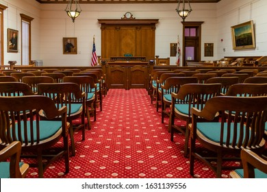 REDWOOD CITY, CALIFORNIA, USA - March 4, 2019: Empty Vintage Courtroom