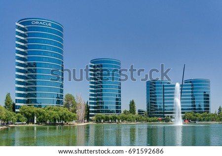REDWOOD CITY, CA/USA - JULY 30, 2017: Oracle world headquarters and campus. Oracle Corporation is a multinational computer technology corporation.