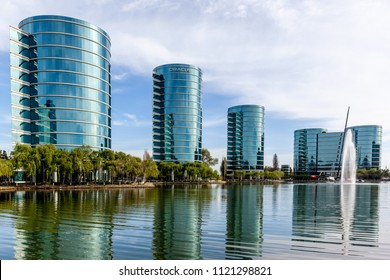 Redwood Shores, CA, USA - March 30, 2018: Oracle headquarters in Silicon Valley, CA, USA. Oracle Corporation is an American multinational computer technology corporation.