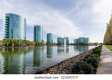 Redwood Shores, California, USA - March 30, 2018: Oracle headquarters in Silicon Valley. Oracle Corporation is an American multinational computer technology corporation.