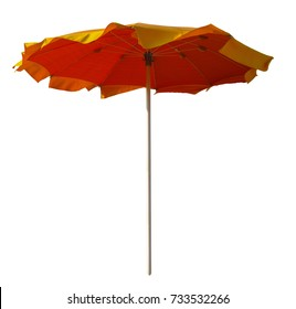Red-yellow umbrella isolated on white with Clipping Path