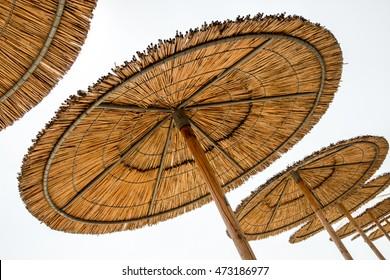 Reed Beach Umbrellas Isolated On White