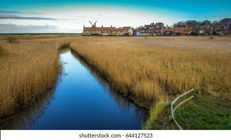 Reed beds at nature reserve in Cley next the sea in north Norfolk on the coast of East Anglia, England