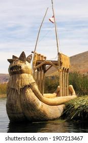 Reed boat bowsprits on Lake Titicaca, Peru