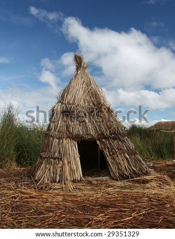 Reed Hut On Floating Islands Lake Stock Photo Edit Now 29351329