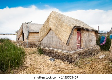 Reed hut at Uros floating islands, Titicaca lake, Peru,  South America.