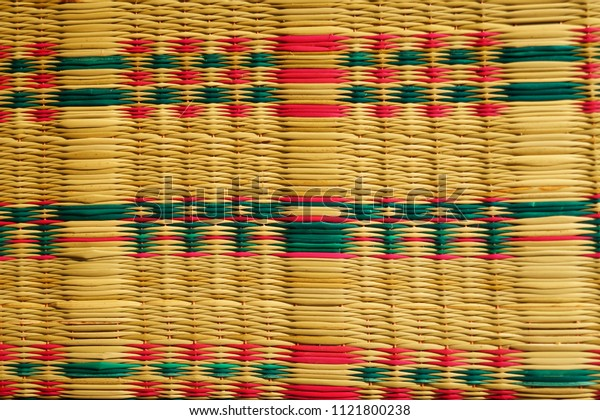 Reed mat weaving texture.