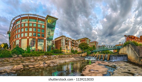Reedy River panorama of RiverPlace in downtown Greenville South Carolina SC.