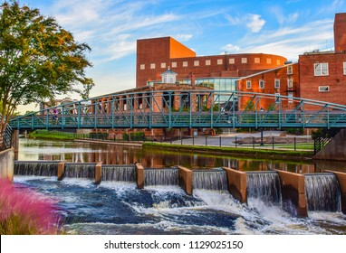 Reedy River and River Place Bridge in Downtown Greenville South Carolina SC