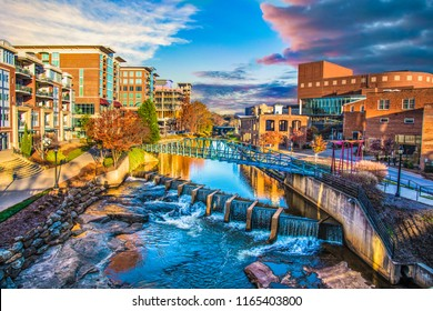 Reedy River and Skyline in Downtown Greenville South Carolina SC.