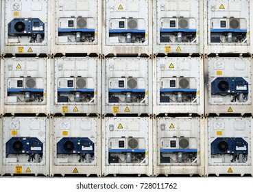 Reefer containers are stacking at yard.